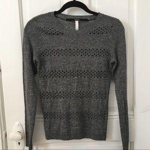 Grey pointelle crew neck sweater